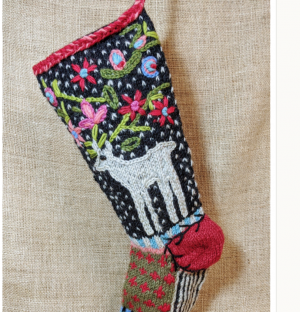 handknit Christmas stockings, made with Nepalese wool